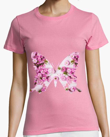 Mariposa rosa, flores Mujer, manga corta, Camiseta rosa, calidad premium