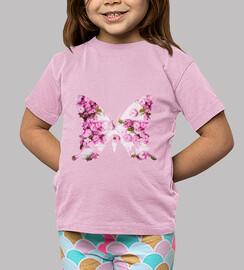 Mariposa rosa, Niña, manga corta, bonita mariposa rosa