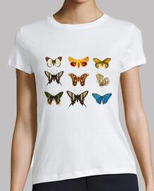 Mariposas. Ilustración del siglo XIX. Mujer, manga corta, blanca, calidad premium