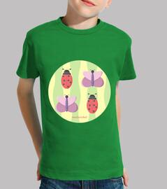 Mariquitas y mariposas: camiseta niño o niña