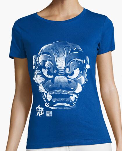 Camiseta Máscara Japonesa Demonio Kanji Blanco