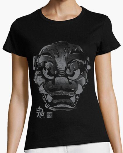 Camiseta Máscara Japonesa Demonio Kanji Gris