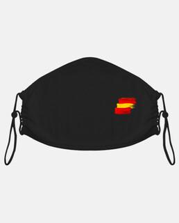 Mascarilla de tela adulto, negro Bandera  España