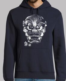 masque japonaise démon blanc kanji