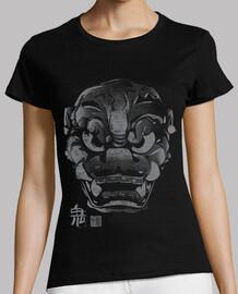 masque japonaise gris démon kanji