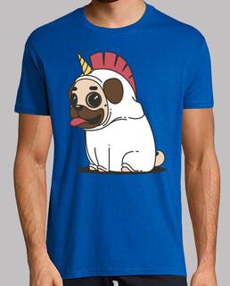 männer t-shirt hund mops einhorn mops