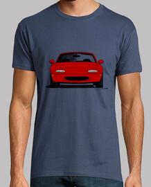 Mazda MX5 NA rojo con los faros cerrado