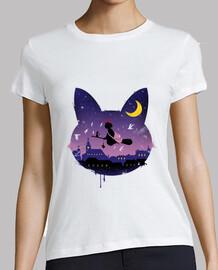 medianoche camisa para mujer paseo gato