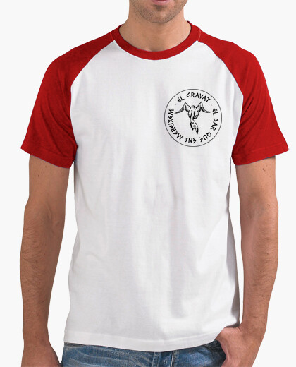 Men, baseball style, white and red t-shirt