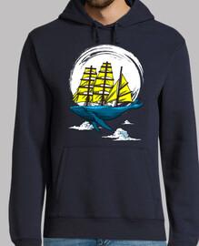 Men, hoodie, navy
