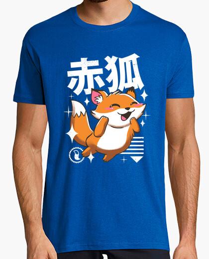 T-shirt mens camicia kawaii di volpe