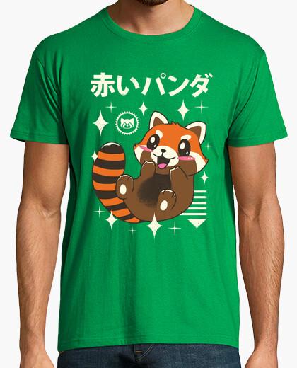 T-shirt mens kawaii in panda rosso