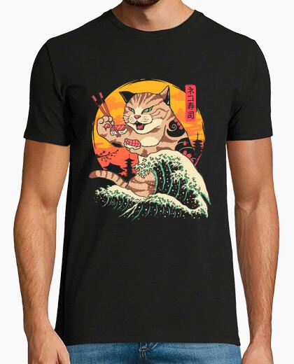 T-shirt mens neko sushi wave shirt