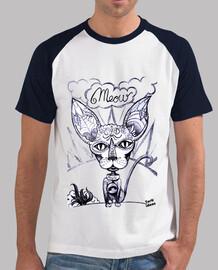 Meow - Hombre, estilo béisbol, blanca y azul marino