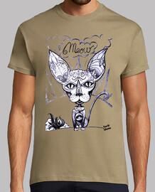 Meow - Hombre, manga corta, caqui, calidad extra