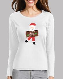 Merry Christmas camiseta Navidad manga larga mujer