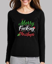 Merry Fucking Christmas Camiseta manga larga Navidad mujer