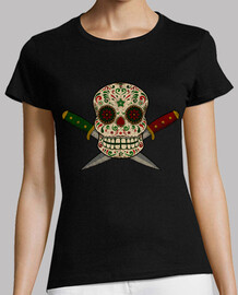 mexican skull and worn vintage daggers