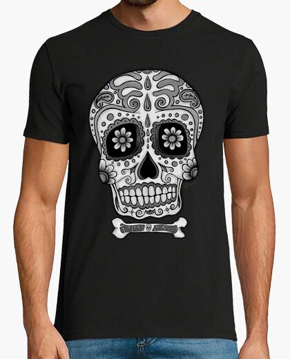 T-Shirt mexikanischer schwarzweiss-schädel !!!