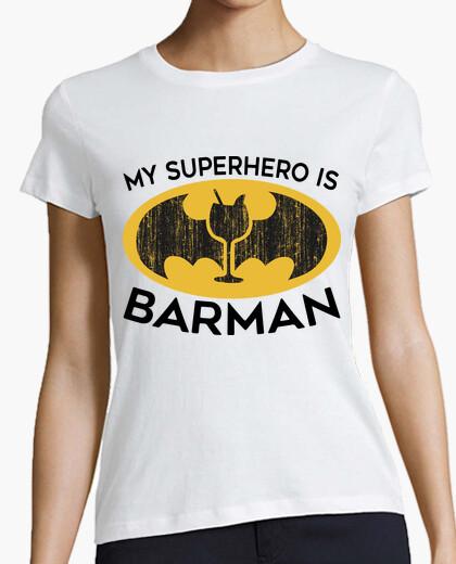 Camiseta mi superhéroe es de barman