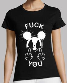 Mickey fuck you blanco. Camiseta mujer color negro