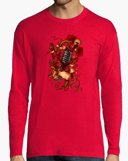T-shirt microfono, chitarra e le rose