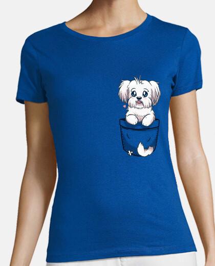 mignon chien maltais de poche - chemise femme