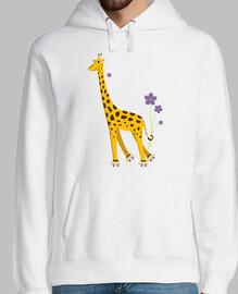 mignon dessin animé drôle patinage de girafe