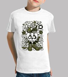 military skull cartoon youth t shirt