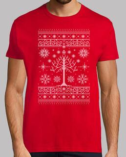 minas weihnachten / hässliches strickjacken-t-shirt / lotr / mens