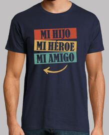mio figlio, il mio eroe, il mio amico. t-shirt padre e figlio