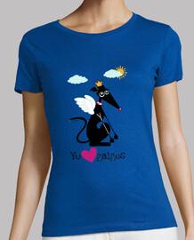 Mirando al cielo love galgos Camiseta Mujer Manga Corta