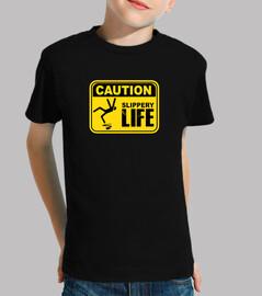 mise en garde! t-shirt glissant de signes de vie