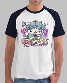 Männer, Baseball T-Shirt, weiß-royalblau