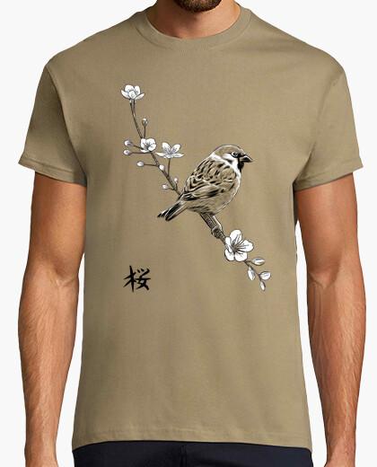 Tee-shirt moineau sur cerise