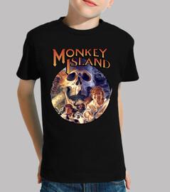 Monkey Island. Manga corta negra infantil