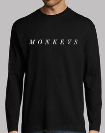 monkeys artiche t-shirt uomo, manica lunga, nero, monkeys artiche