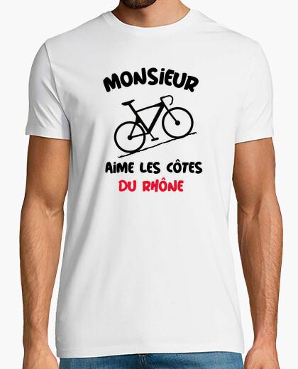 Tee-shirt Monsieur aime côtes Rhône vélo humour