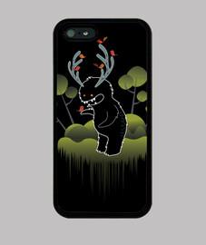 monstre forestier simpatico avec cornes et animaux - fonds iphone 5 / 5s, noir