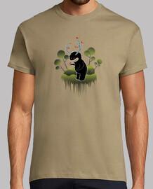 monstre forestier simpatico avec cornes et animaux - homme, manches courtes, kaki, qualité extra