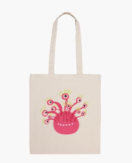 Bolsa monstruo rosado divertido de once ojos