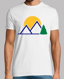 montagne sole albero