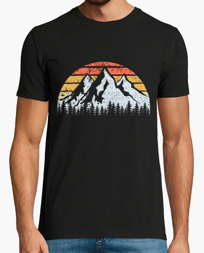 Camiseta Montañas Árboles y Puesta de Sol Vintag