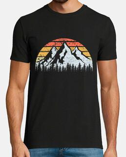 Montañas Árboles y Puesta de Sol Vintag