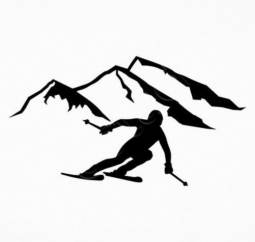 Tee shirt montagnes de ski alpin 1000241 - Ski alpin dessin ...