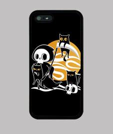 morte con falce e gatto neri