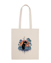 mostro della foresta amichevole con corna e animali - borsa di tela