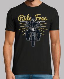 motard rétro moto ride gratuit vintage motards rockers t-shirt