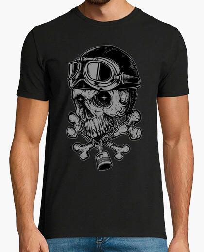 T-shirt motociclista del cranio