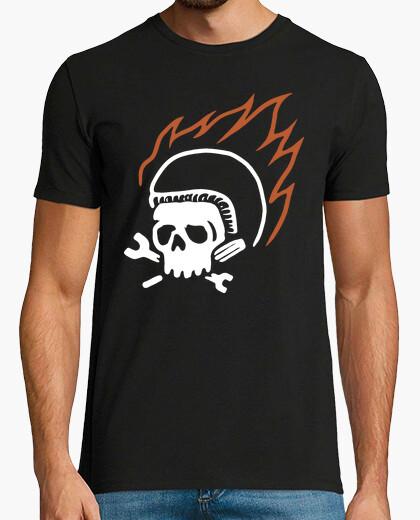 Camiseta motorista y fuego